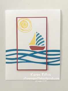 Stampin Up Swirly Bird with Swirly Scribbles sailboat card