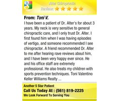I have been a patient of Dr. Alter's for about 3 years. My neck is very sensitive to...
