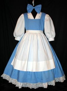 Belle Blue PROVINCIAL Costume 4 Pc SET Child Size por mom2rtk
