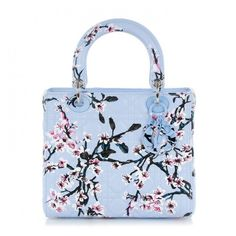 CHRISTIAN DIOR Lambskin Cannage Floral Printed Medium Lady Dior Light... ❤ liked on Polyvore featuring bags, handbags, blue tote bag, handbags totes, tote handbags, floral purse and floral handbags