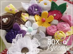 """Variety of Hair clips for little girl for baby shower. Given in egg carton. Adorable idea. """"Box 'O Blooms"""""""