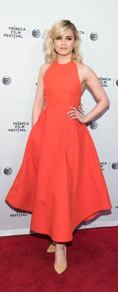 Dianna Agron in a red Rosie Assoulin dress.