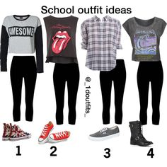 School outfit ideas- black cropped leggings for tomboy - Polyvore