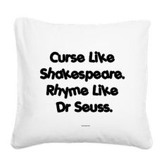 Shakespeare and Seuss Square Canvas Pillow $ 22.99