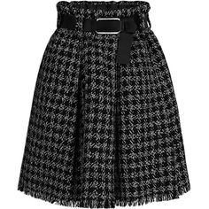 BLEND TWEED BELTED SKIRT ($2,570) ❤ liked on Polyvore featuring skirts, evening skirts, holiday skirts, checkerboard skirt, cocktail skirt and knee length pleated skirt