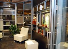 Glass wall reception area. Great for doctor's office waiting room, higher education student work space, sample room, meeting room. Etched glass, curved, with art. Sustainable - Demountable - Removable Office Walls   Partition Systems