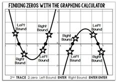 """Every year my Algebra 2 students get really confused by the whole """"Left Bound / Right Bound"""" thing on the graphing calculator. This is especially true when finding zeros. I've found it really wordy trying to explain that Left and Right Bound will sometimes be above the x-axis and will sometimes be below it, so this year I am going to hand out the above reference sheet to help. If you think this sheet would help your students, you can find the file called """"left bound right bound"""""""