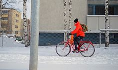A cyclist in Rovaniemi, Finland Arctic Circle - Ice cycles: the northerly world cities leading the winter bicycle revolution Oulu in Finland and Winnipeg in Canada