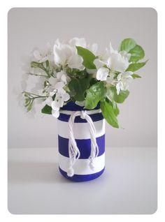 Chalk paint Jars Upcycling Decoration Homemade DIY Nautical style Flower Vase