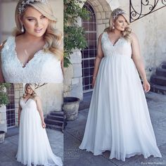 2016 New Summer Plus Size Wedding Dresses with Empire High Waist Line for Maternity Curvy Brides Pregnant Women Sale Cheap Long Bridal Gowns