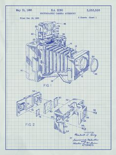 Photographic Camera Blueprint Graphic Art Poster in White Grid/Blue Ink