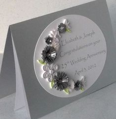 Silver wedding anniversary card, quilling, paper quilled £8.00