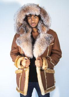 1285354134e Tan Sheepskin Three Quarter With Fox Trim Collar and Hood Jacket