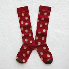 Chaussettes Hautes Bonne Maison / Bonne Maison knee highs - Pois Beige fond Carmin
