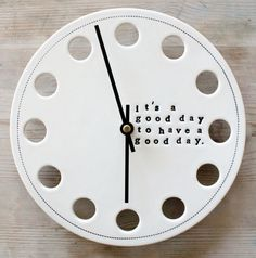 ceramic porcelain clock 8.25 it's a good day.  IN by mbartstudios, $50.00