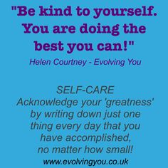 Sometimes we can be far too hard on ourselves. Acknowledge your small accomplishments to build your self-esteem :)  As a Self-Reslisation healer & mentor, I help people to overcome their limiting beliefs, ego patterning & restrictive habits. To book a Discovery session with me so that I can help you overcome your self-limits in order for you to become self-realised, please call 07725 470392 :)