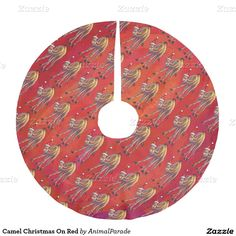 Camel Christmas On Red Brushed Polyester Tree Skirt by Animal Parade.