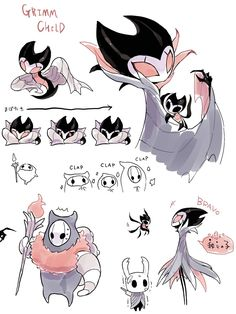 Grimm and Grimmchild Game Character Design, Character Art, Grimm, Hollow Night, Hollow Art, Knight Art, Body Drawing, Pokemon, Creature Design