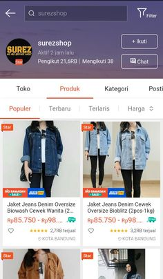 Best Online Stores, Online Shopping Sites, Denim Oversize, Online Shop Baju, Aesthetic Stores, Jaket Jeans, Casual Hijab Outfit, Insta Instagram, Stylish