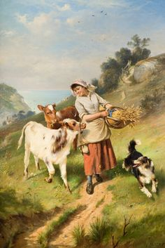 Girl with Two Calves by Walter Hunt 1896 From the collections of Wolverhampton Art Gallery History Posters, Art History, Framed Postcards, Farm Women, Museum Poster, Farm Pictures, Personalised Prints, Wolverhampton, Art Uk