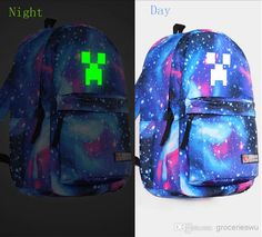 2014 New Minecraft Backpack School Bag Fashion Personalized Canvas Bag Glow  In The Dark Backpack From 66b5fd2502527