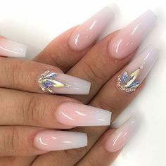 Attractive Acrylic Coffin Nails To Try This Fall – Long Nails – Long Nail Art Designs Wedding Nails For Bride, Bride Nails, Prom Nails, Long Nails, Short Nails, Bling Wedding Nails, Jamberry Wedding, Wedding Acrylic Nails, Sparkle Wedding