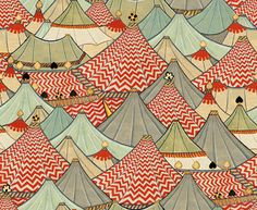 Tsumori Chisato illustration - love those soft blue grays with the red chevrons.  If this was blown up huge, it would make a really cute accent wall