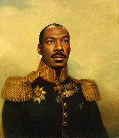 """Eddie Murphy / Artist Steve Payne has created a unique collection of digital paintings of male actors and singers for his """"replaceface"""" collection. (via BuzzFeed)"""