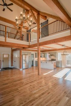 Overlook is a post and beam open concept barn style farmhouse design. Visit to see more photos and floor plans. The Overlook is a post and beam open concept barn style farmhouse design Visit to see more photos and floor plans Metal Barn Homes, Metal Building Homes, Pole Barn Homes, Building A House, Barn Style Homes, Metal Homes Plans, Rustic Barn Homes, Morton Building Homes, Wood Homes