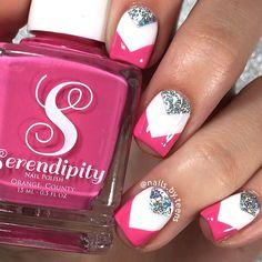 Nails girls nails, teen nails, nails for kids, diy nails, pink tip Teen Nails, Nails For Kids, Girls Nails, Pretty Nail Designs, Nail Art Designs, Chevron Nail Designs, Diy Nails, Cute Nails, Chevron Nails