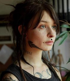 Small Face Tattoos, Face Tats, Face Tattoos For Women, Girl Face Tattoo, Large Tattoos, Tattoos For Women Small, Tribal Face Tattoo, Scarification Tattoo, Butterfly Neck Tattoo