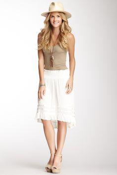 White & Beige. Mini effect Hi-Lo Skirt.
