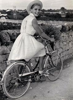 "ridesabike:  "" Virna Lisi rides a bike.  """