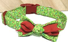 Lime Green & Red Foral Collar with Bow for Female Dog or Cat/Leash Upgrade/ Martingale Option/Metal Buckle Upgrade by KVSPetAccessories on Etsy Cat Leash, Metal Engraving, Cat Accessories, Girl And Dog, All Flowers, Cat Collars, Key Fobs, Metal Buckles, Dog Cat