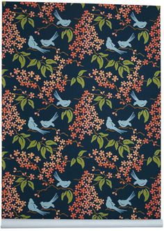 Galbraith & Paul bird wallpaper >>> this is gorgeous! I love nice wallpaper. Interior Wallpaper, Bird Wallpaper, Retro Wallpaper, Bathroom Wallpaper, Fabric Wallpaper, Bar Design, Design Studio, Wall Colors, Paint Colors