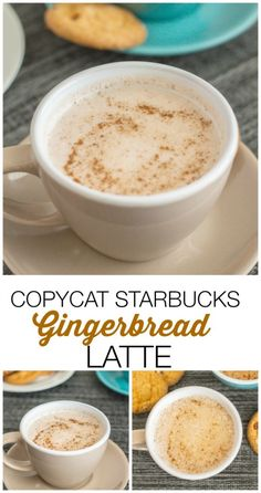 Copycat Starbucks Gingerbread Latte- Save your money and make this copycat version of the seasonal drink- Paleo, gluten free and vegan- Everyone can enjoy it! It's delicious over ice! Perfect for Christmas and the festive season! Yummy Drinks, Healthy Drinks, Yummy Food, Starbucks Recipes, Coffee Recipes, Starbucks Food, Hot Tea Recipes, Starbucks Coffee, Recipes Dinner