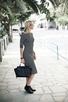 Gestreiftes langes Kleid, Fashionblogger, Outfit of the Day, Inspiration, Kiamisu, Griechenland, Thassos