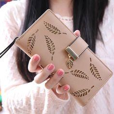 Women Leaf Bifold Wallet Leather Clutch Card Holder Purse Lady Long Handbag Folding wallet