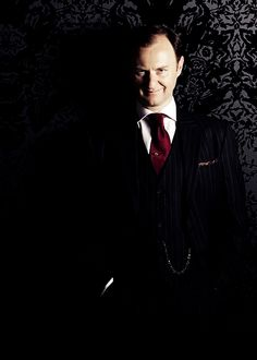 """Mycroft/Gatiss, you're scaring me."" - Darkly grinning portrait is epic."