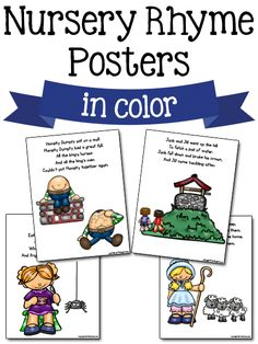 Nursery Rhyme Printables These printable nursery rhyme posters and activity cards can be used in your preschool classroom. Read the Terms of Use Nursery Rhyme Posters These posters come in color and blackline. Use for poetry books, charts, posters, Nursery Rhymes Kindergarten, Free Nursery Rhymes, Rhyming Kindergarten, Nursery Rhyme Crafts, Nursery Rhyme Theme, Rhyming Activities, Kindergarten Themes, Preschool Songs, Preschool Printables