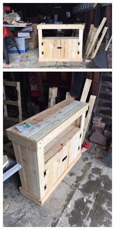 Pallet Projects and Ideas: Pallet TV Stand / Cabinet 1001 Pallets Pallet Crafts, Diy Pallet Projects, Pallet Ideas, Wood Crafts, Wood Projects, Woodworking Projects, Teds Woodworking, Woodworking Classes, Diy Projects