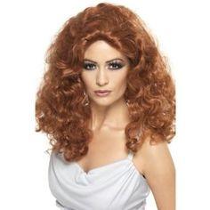 Parrucca color ramato rosso, effetto mosso riccio, capelli lunghi. Donna vampiro, strega. Accessorio per Travestimenti. Dsiponibile sa C&C Creations Store
