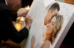 Unique Guestbook Idea! Select or create a photo of you with a white background and have your wedding guests sign it!