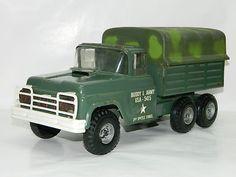 Vintage Buddy L Metal Toy Military USA - 5415 Army Truck DieCast Metal Tin Toys