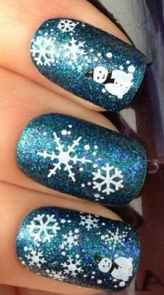 Winter snowman nails