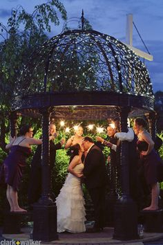 Glen Sanders Mansion wedding portrait at night with sparklers
