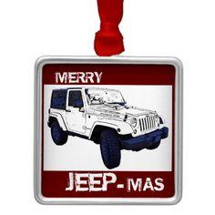 Merry Jeep-mas wrangler holiday ornament