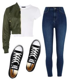 """""""Untitled #102"""" by banana2312 ❤ liked on Polyvore featuring Topshop, Alpha Industries and Converse"""