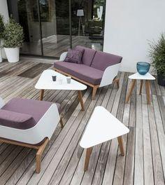 Des meubles aux formes géométriques pour un salon de jardin moderne