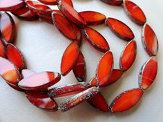 17x8mm Red Orange Window Spindle Beads  Premium by BeadSoupBeads, $6.55